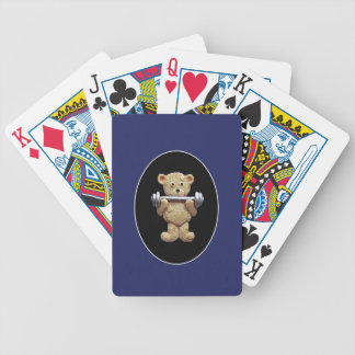 Weightlifting Teddy Bear Bicycle Playing Cards