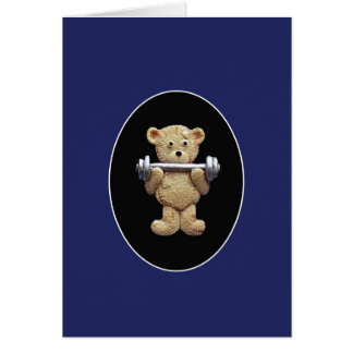 Weightlifting Teddy Bear Card