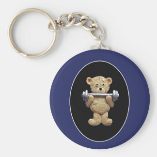 Weightlifting Teddy Bear Key Ring