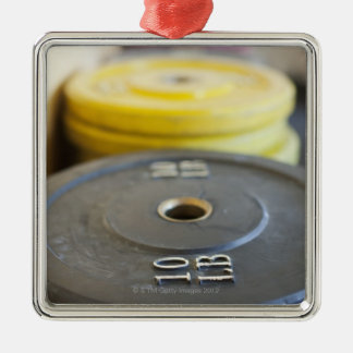 Weights at Gym, Newport Beach, Orange County, Silver-Colored Square Decoration
