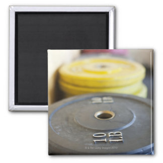 Weights at Gym, Newport Beach, Orange County, Square Magnet