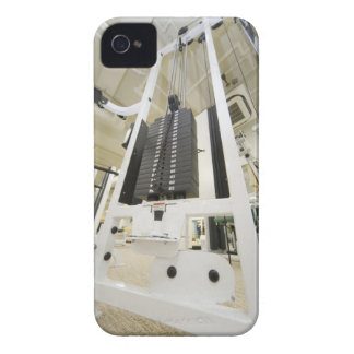 Weights on an exercise machine in gym, low angle iPhone 4 Case-Mate cases