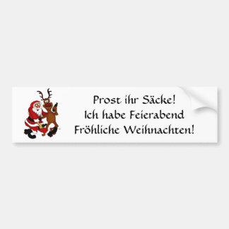 Weihnachtsmann mit Elch Auto Sticker
