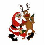 Weihnachtsmann mit Elch Foto Skulpturen