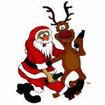 Weihnachtsmann mit Elch Fotofigur