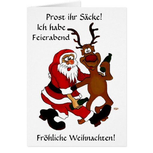 Weihnachtsmann mit Elch Grußkarten