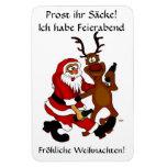Weihnachtsmann mit Elch - Prost ihr Säcke! Flexibler Magnet