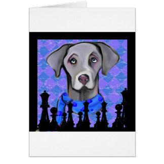 WEIMARANER CHESS GREETING CARD