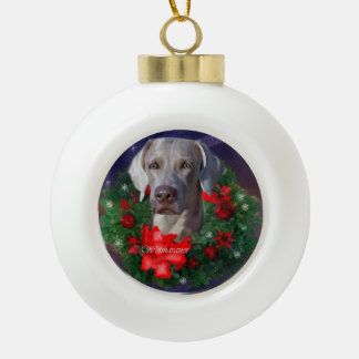 Weimaraner Christmas Ceramic Ball Christmas Ornament