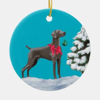 Weimaraner Christmas Holiday Ornament