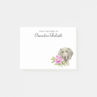 Weimaraner Dog and Lily Watercolor | Add Your Name Post-it Notes