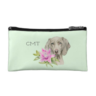 Weimaraner Dog and Lily Watercolor   Monogram Cosmetic Bag