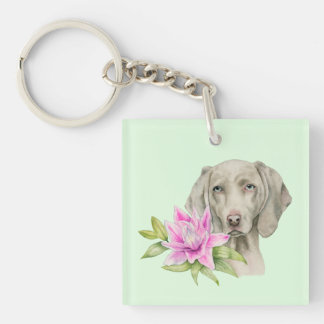 Weimaraner Dog and Lily Watercolor   Monogram Key Ring