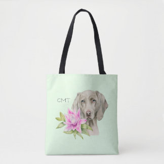 Weimaraner Dog and Lily Watercolor   Monogram Tote Bag