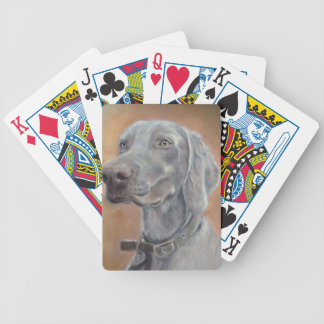 Weimaraner dog bicycle playing cards