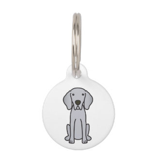 Weimaraner Dog Cartoon Pet Name Tag