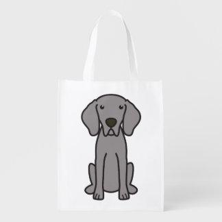 Weimaraner Dog Cartoon Reusable Grocery Bag