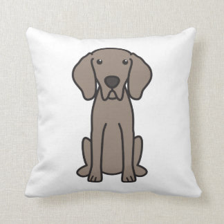 Weimaraner Dog Cartoon Throw Pillow