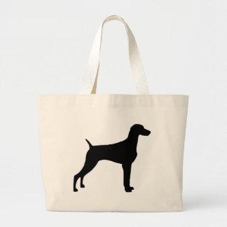 Weimaraner Dog (in black) Large Tote Bag
