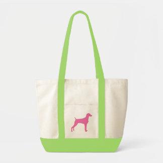 Weimaraner Dog in pink Canvas Bags