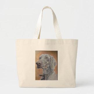 Weimaraner dog large tote bag