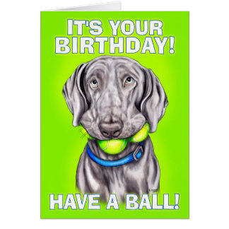 Weimaraner Have a Ball Card