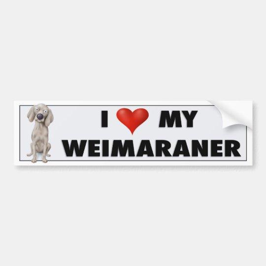 Weimaraner love sticker bumper sticker