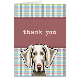 Weimaraner Pale Plaid Thank You Card