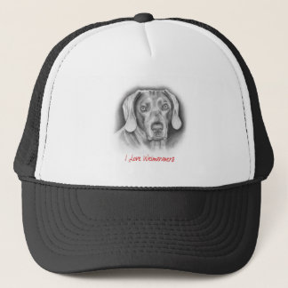 Weimaraner pedigree dog trucker hat