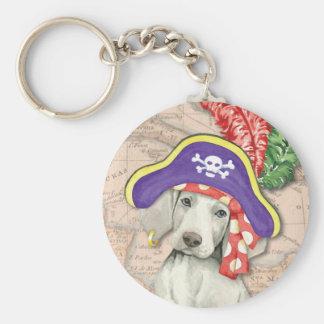 Weimaraner Pirate Basic Round Button Key Ring