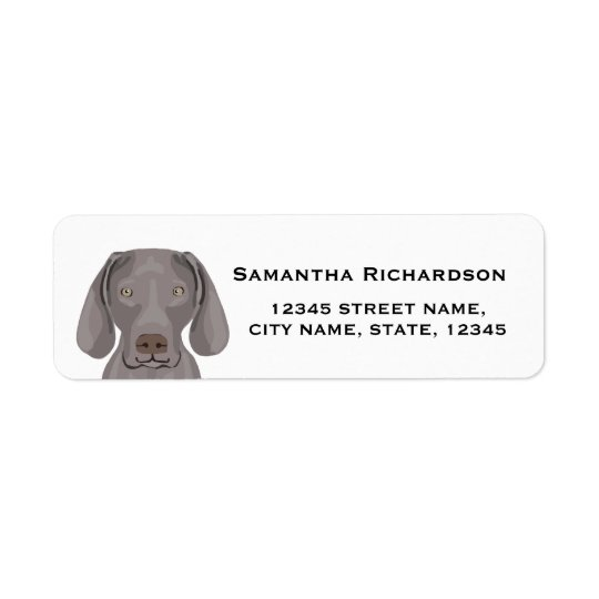 weimaraner return address label dog stickers