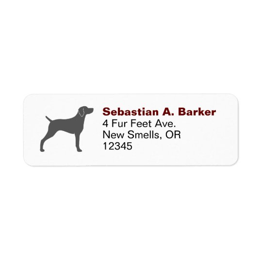 Weimaraner Silhouette Return Address Label