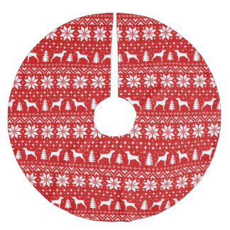 Weimaraner Silhouettes Christmas Pattern Red Brushed Polyester Tree Skirt