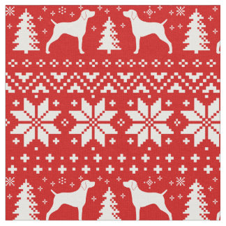 Weimaraner Silhouettes Christmas Pattern Red Fabric