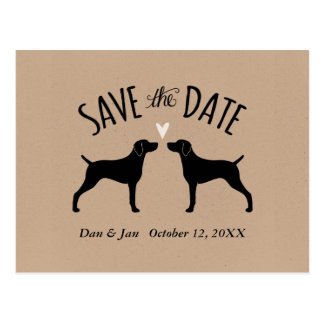 Weimaraner Silhouettes Wedding Save the Date Postcard