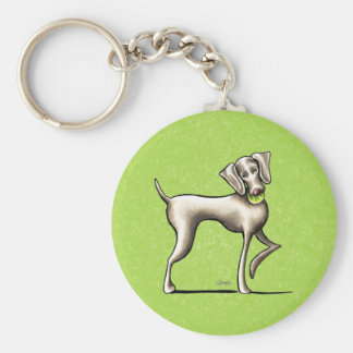 Weimaraner Tennis Pro Basic Round Button Key Ring