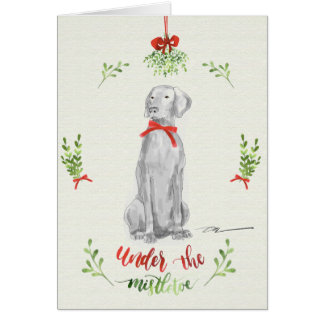 WEIMARANER UNDER THE MISTLETOE  Blank christmas Card