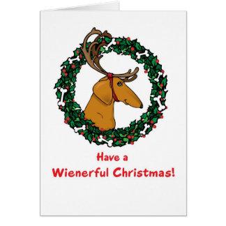 Weindeer Dachshund Christmas Card
