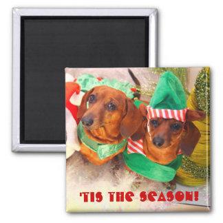 Weiner Dog Christmas Elf Magnet