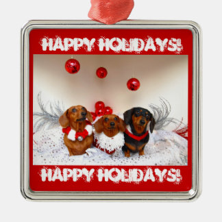 Weiner Dog Happy Holidays! Christmas Ornament