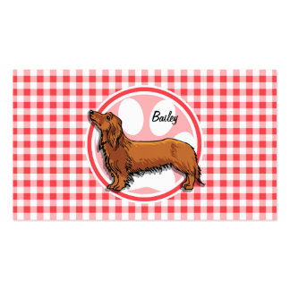 Weiner Dog; Red and White Gingham Pack Of Standard Business Cards