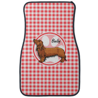 Weiner Dog; Red and White Gingham Car Mat