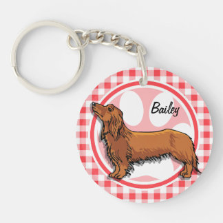Weiner Dog; Red and White Gingham Key Chains