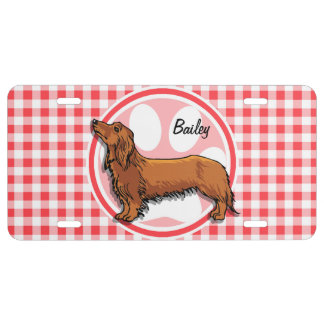Weiner Dog; Red and White Gingham License Plate