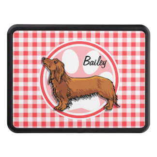 Weiner Dog; Red and White Gingham Hitch Covers