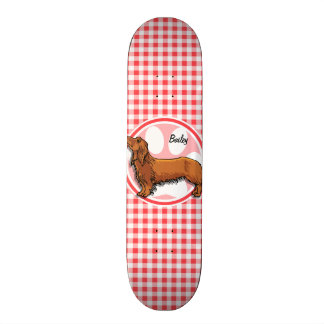 Weiner Dog; Red and White Gingham Skate Deck