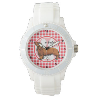 Weiner Dog; Red and White Gingham Wrist Watches
