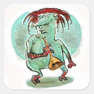 weird alien musician funny cartoon square sticker