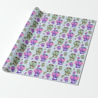 weird alien musician funny cartoon wrapping paper