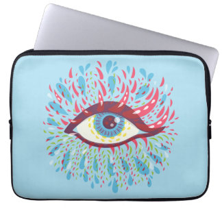 Weird Blue Psychedelic Eye Laptop Sleeve